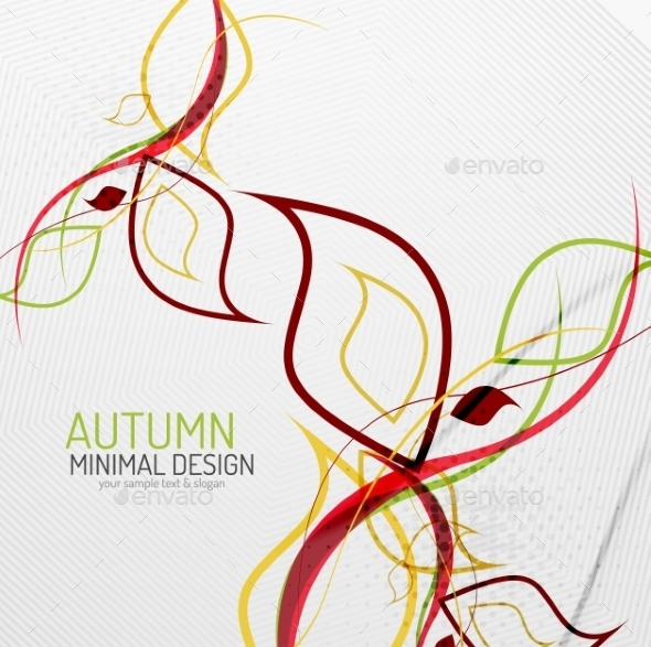 GraphicRiver Autumn Floral Minimal Background 8801650