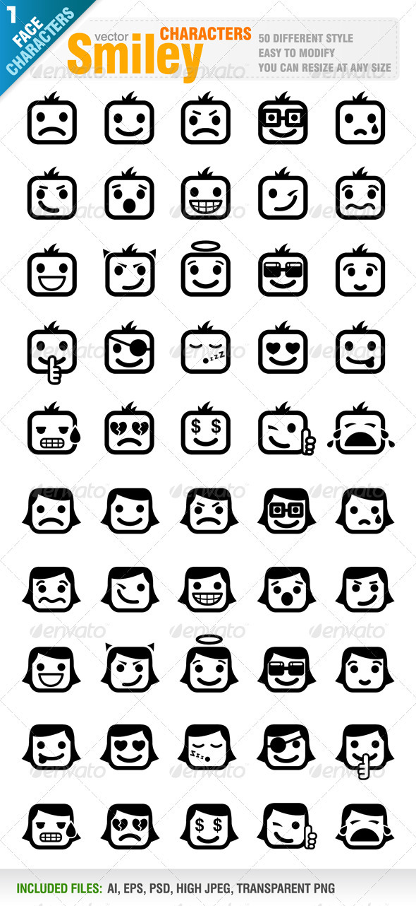 GraphicRiver 50 Different Smiley 896391