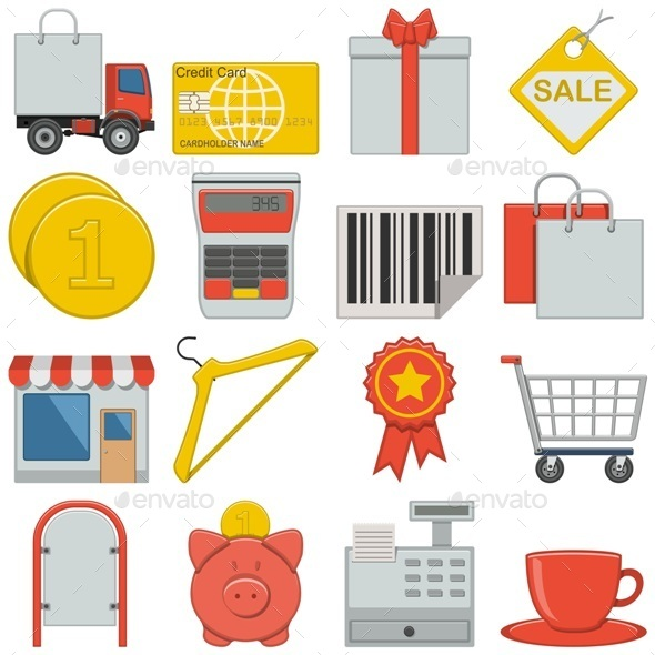 GraphicRiver Vector Flat Icons Retail 8803138