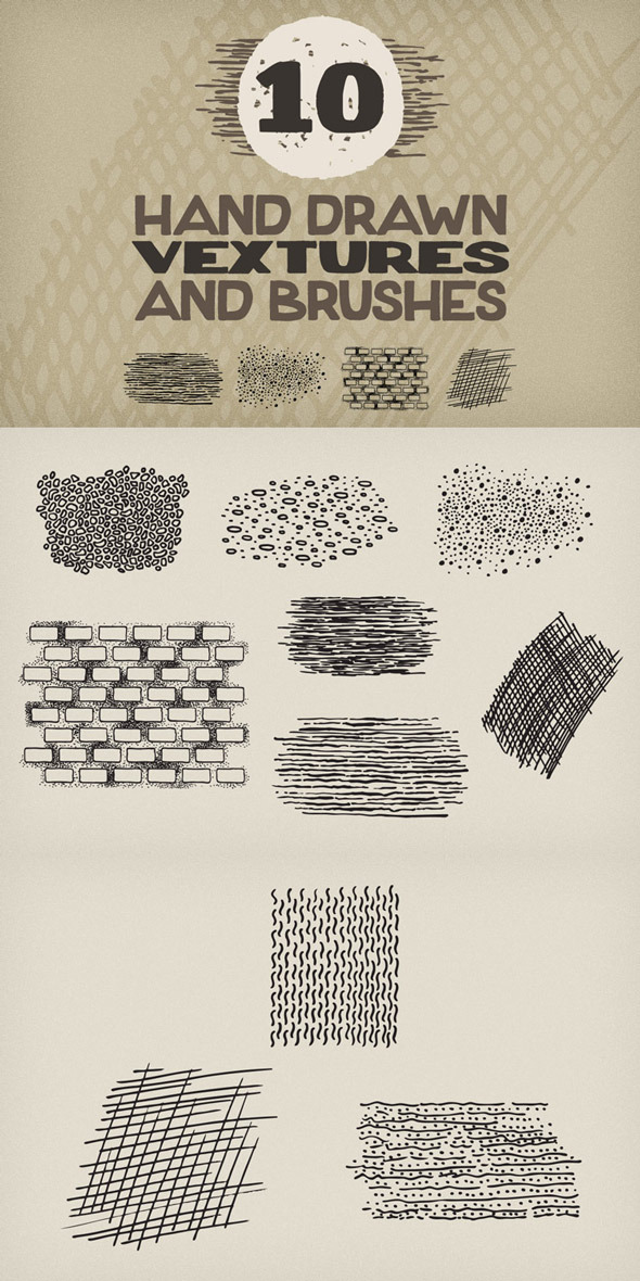 GraphicRiver Hand Drawn Vextures and Brushes Pack 1 8803898