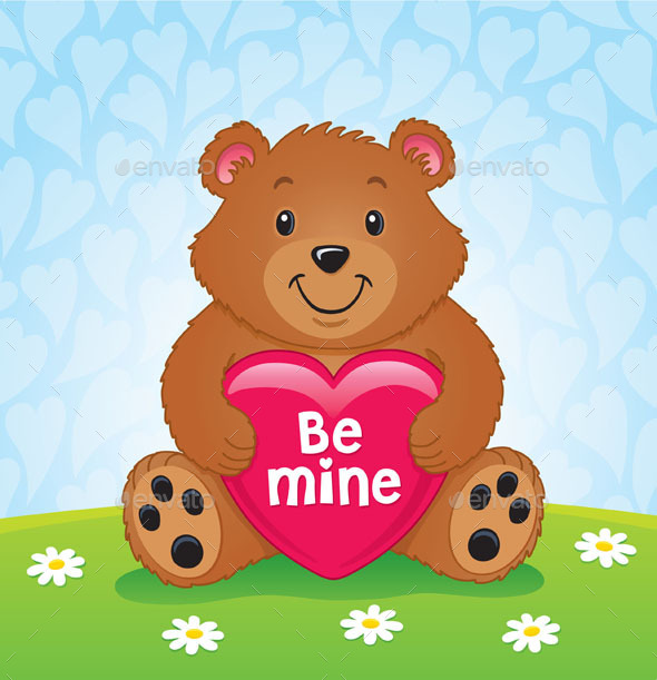 GraphicRiver Valentines Day Bear Holding Heart 8804366