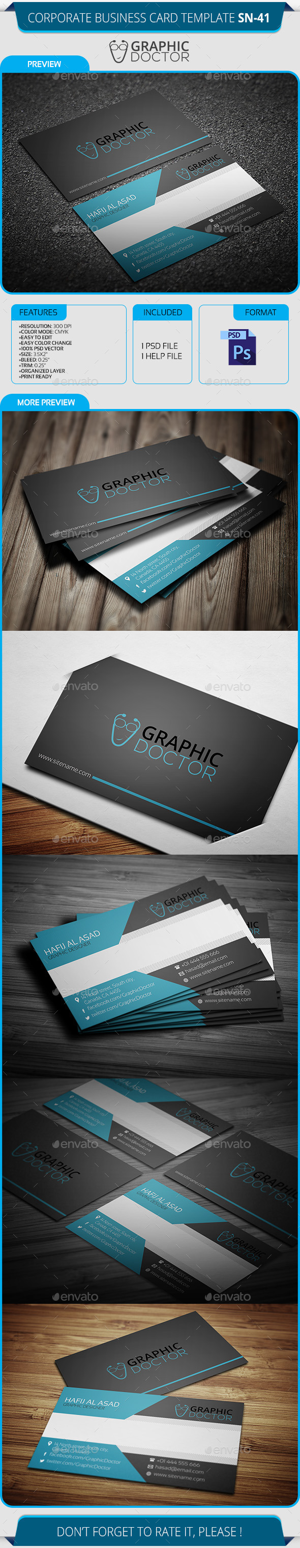 GraphicRiver Corporate Business Card Template SN-41 8804410