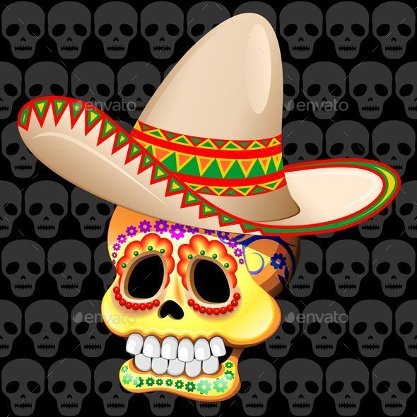 GraphicRiver Mexico Sugar Skull with Sombrero 8804739