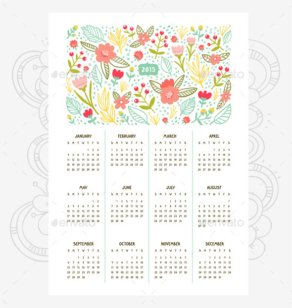 GraphicRiver Floral Calendar for Year 2015 8804808