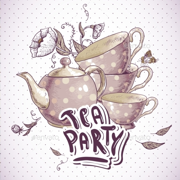 GraphicRiver Tea Party Invitation Card with Tea Cups and Pot 8804830