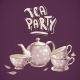 Tea Party Invitation Card with Tea Cups and Pot - GraphicRiver Item for Sale