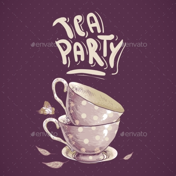 GraphicRiver Tea Party Invitation Card with Tea Cups 8804875