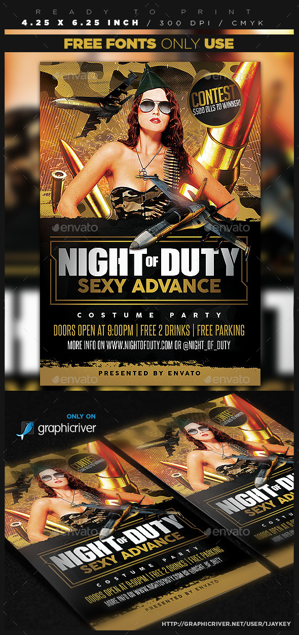 GraphicRiver Military Camo Party Flyer Template 8804996