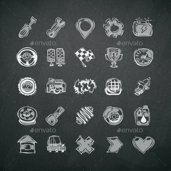GraphicRiver Icons Set of Car Symbols on Blackboard 8805074