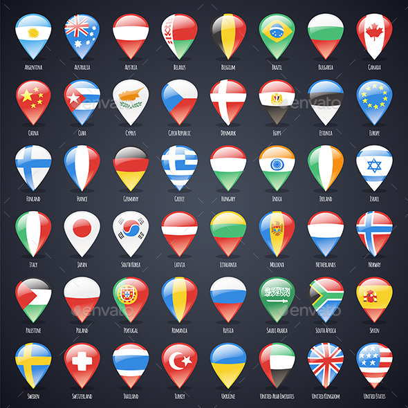 GraphicRiver Set of Glass Map Pointers with World States Flags 8805064
