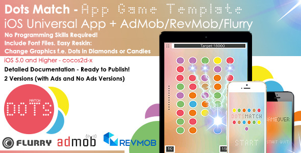 CodeCanyon Dots Match iOS Full Game App Template & Ads 8805257