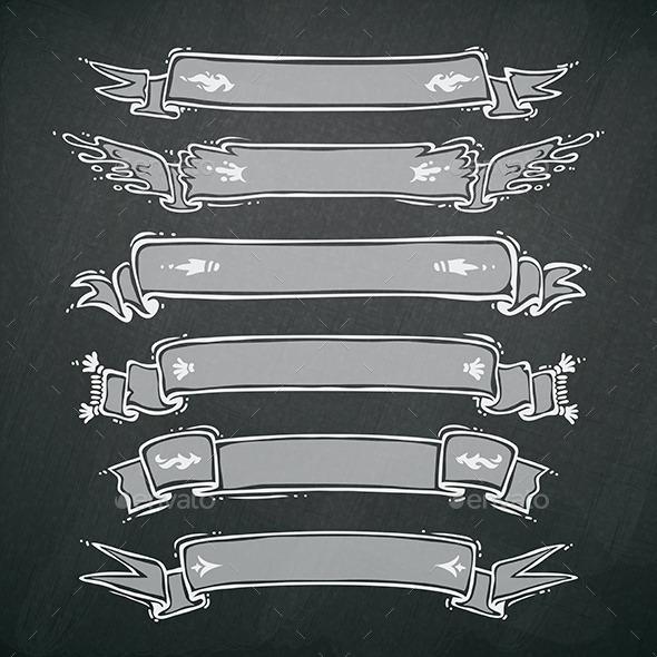 GraphicRiver Vintage Ribbons Set on Blackboard 8805086