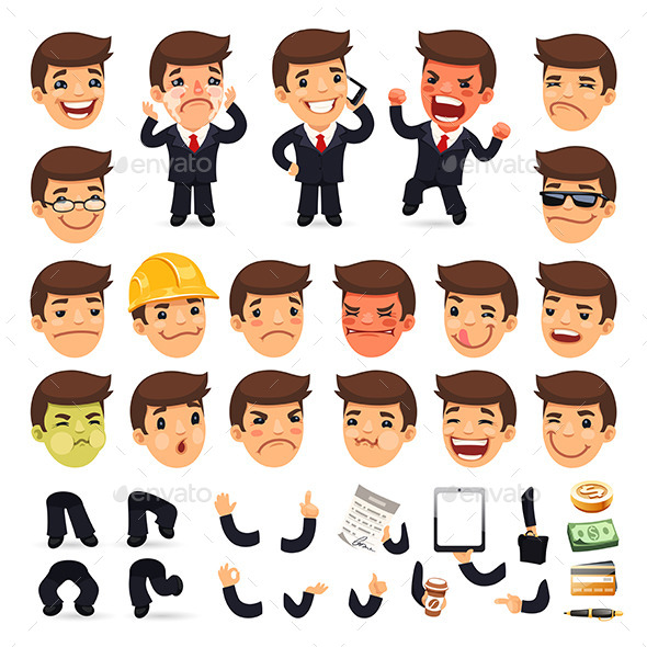 GraphicRiver Set of Cartoon Businessman Characters 8805258