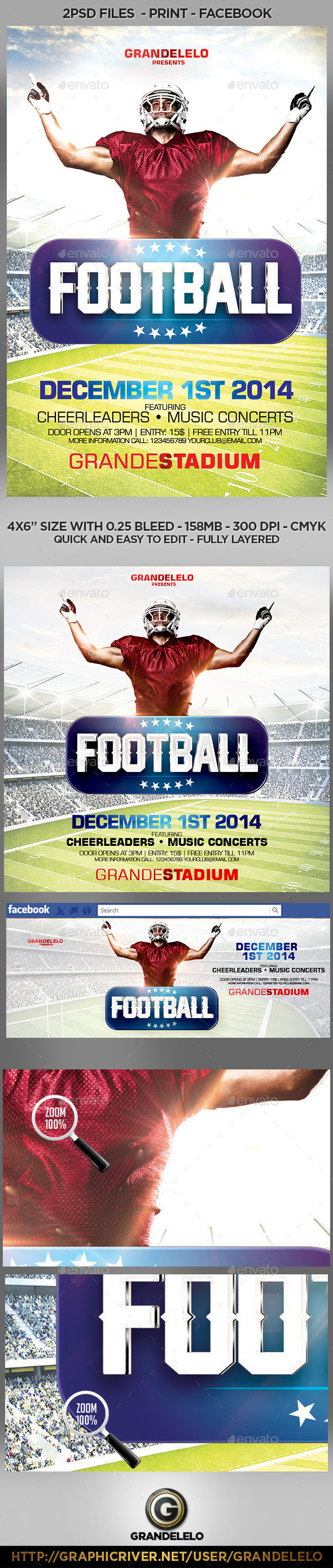 GraphicRiver Football Flyer Template with Facebook and Instagram Cover 8783312