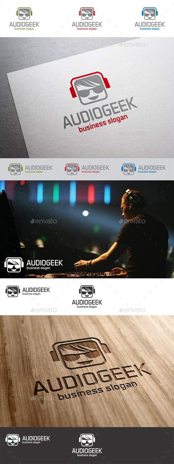 GraphicRiver Audio Geek Square Avatar Logo 8808159