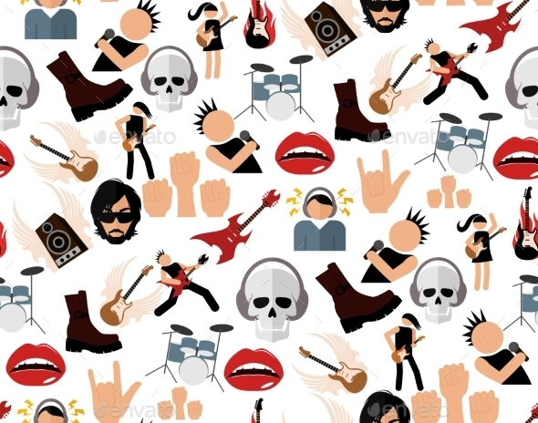 GraphicRiver Rock Music Seamless Pattern 8808292