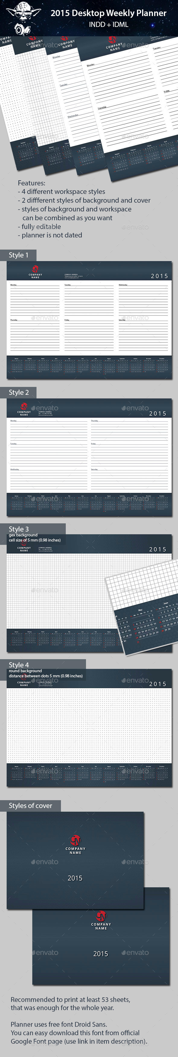 GraphicRiver 2015 Desktop Weekly Planner 8761971
