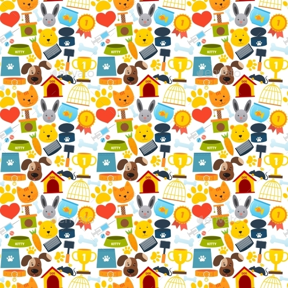 GraphicRiver Pets Seamless Pattern 8808293