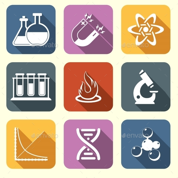 GraphicRiver Physics Science Icons Flat 8808294