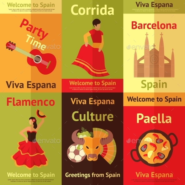GraphicRiver Spain Retro Posters Set 8808359
