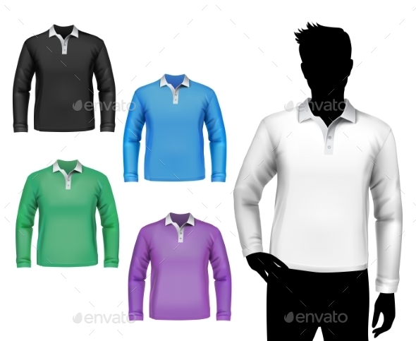 GraphicRiver T-Shirts Male Polo Long Sleeve Set 8808950