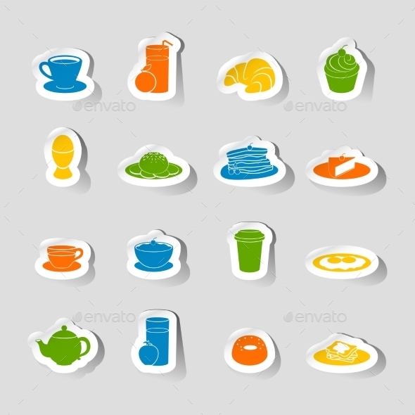 GraphicRiver Breakfast Icon Sticker 8809199