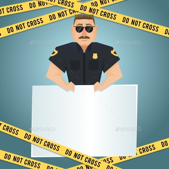 GraphicRiver Policeman Poster with Yellow Tape 8809203
