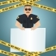 Policeman Poster with Yellow Tape - GraphicRiver Item for Sale