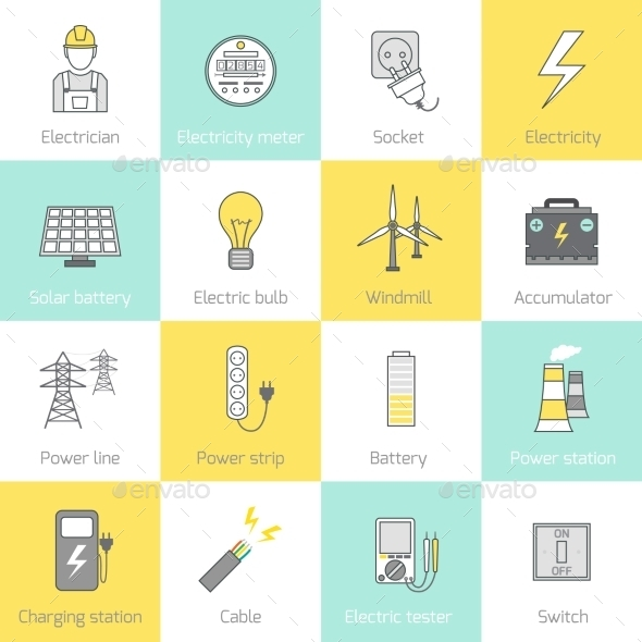 GraphicRiver Electricity Icon Flat Line 8809206