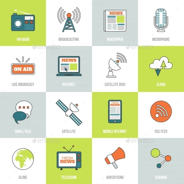 GraphicRiver Media Icons Line Flat 8809207