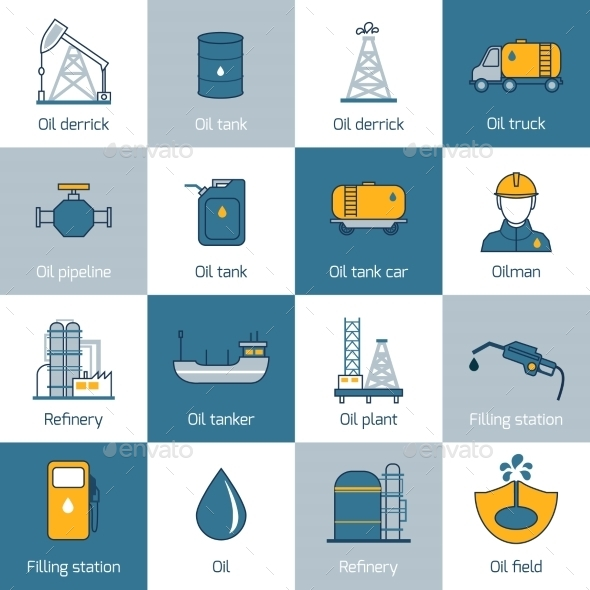 GraphicRiver Oil Icons Flat Line 8809210