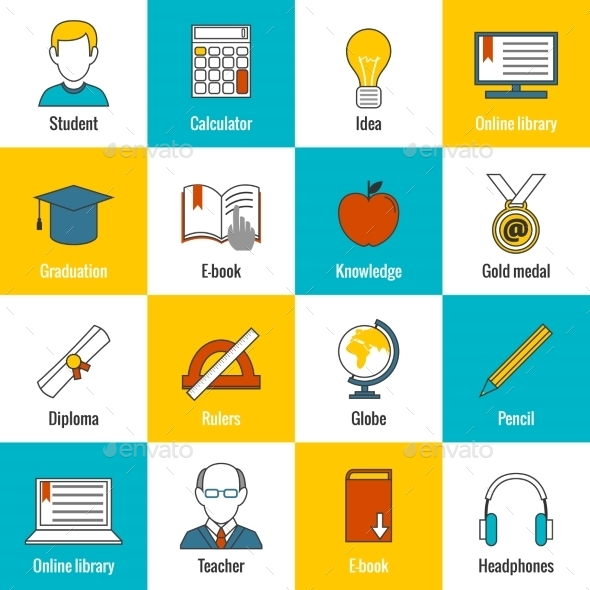 GraphicRiver Education Icons Flat 8809211