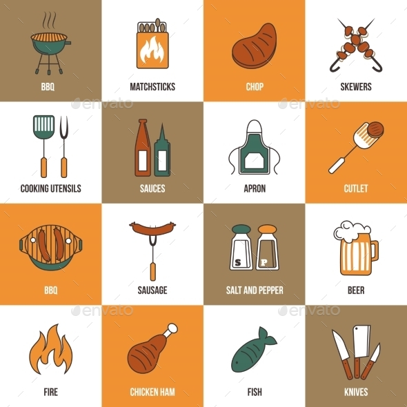 GraphicRiver Bbq Line Icons 8809252