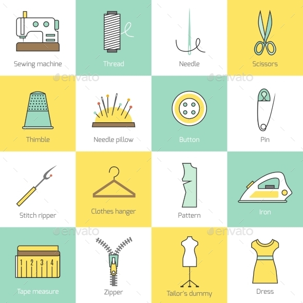 GraphicRiver Sewing Equipment Icons 8809254