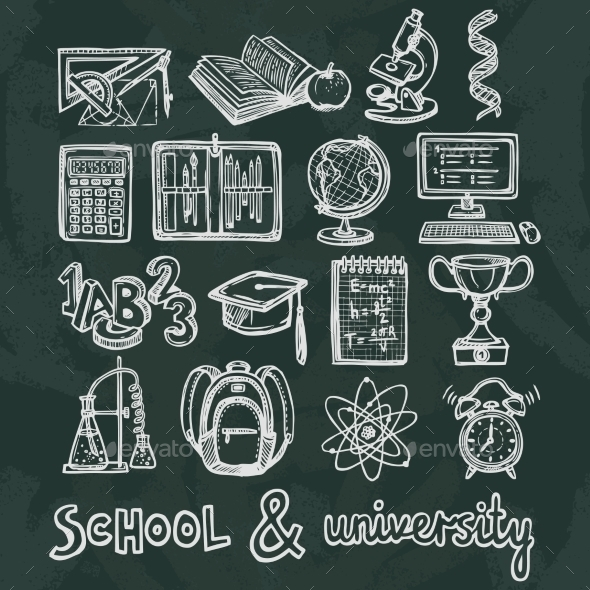 GraphicRiver School Education Chalkboard Icons 8809259