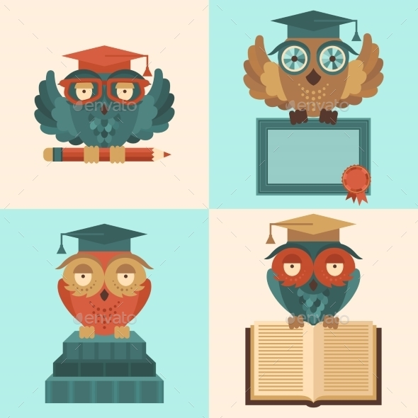 GraphicRiver Owls in Graduation Caps Set Flat 8809267