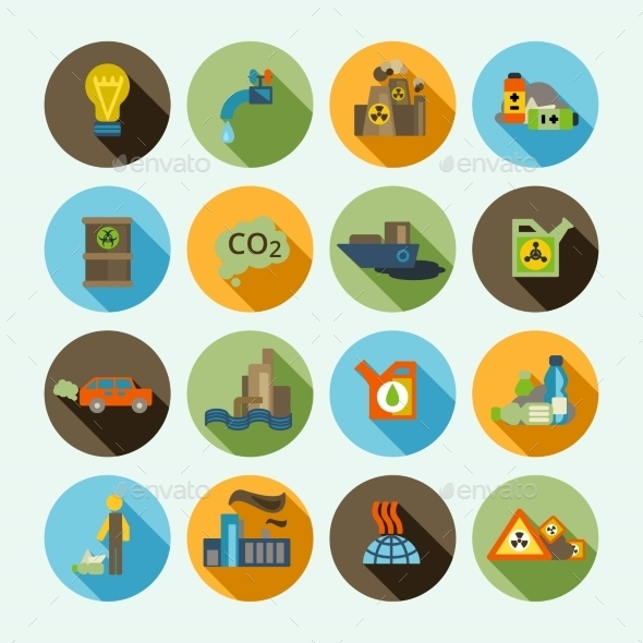 GraphicRiver Pollution Icons Set 8809300
