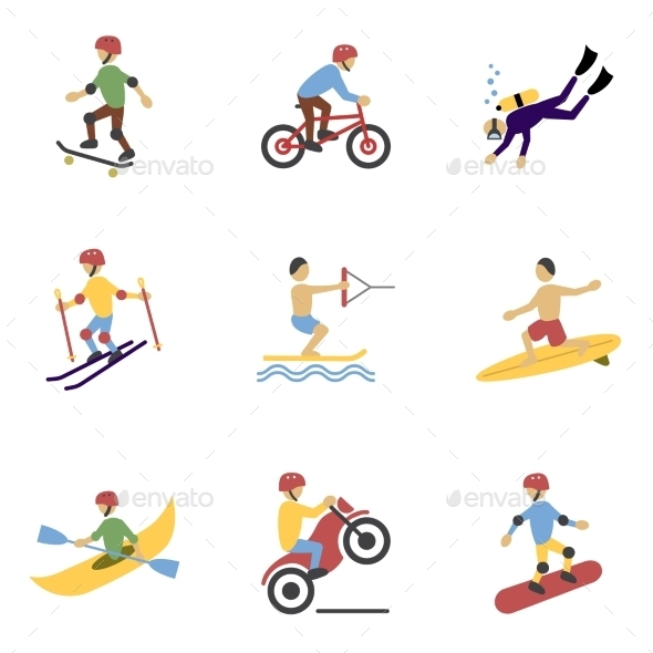 GraphicRiver Extreme Sports Icons Set 8809305