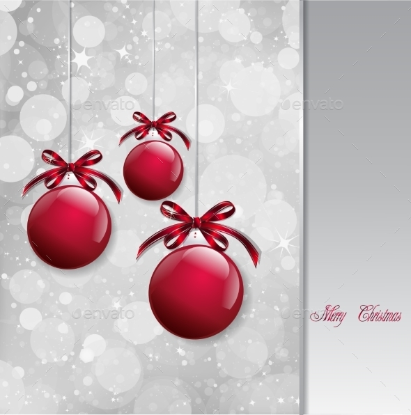 GraphicRiver Red Christmas Balls on Shiny Card Vector 8809356