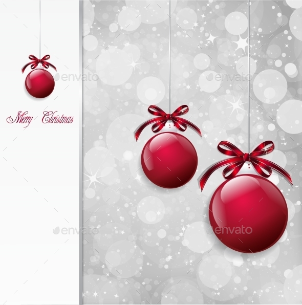 GraphicRiver Red Christmas Balls on Shiny Card Vector 8809359