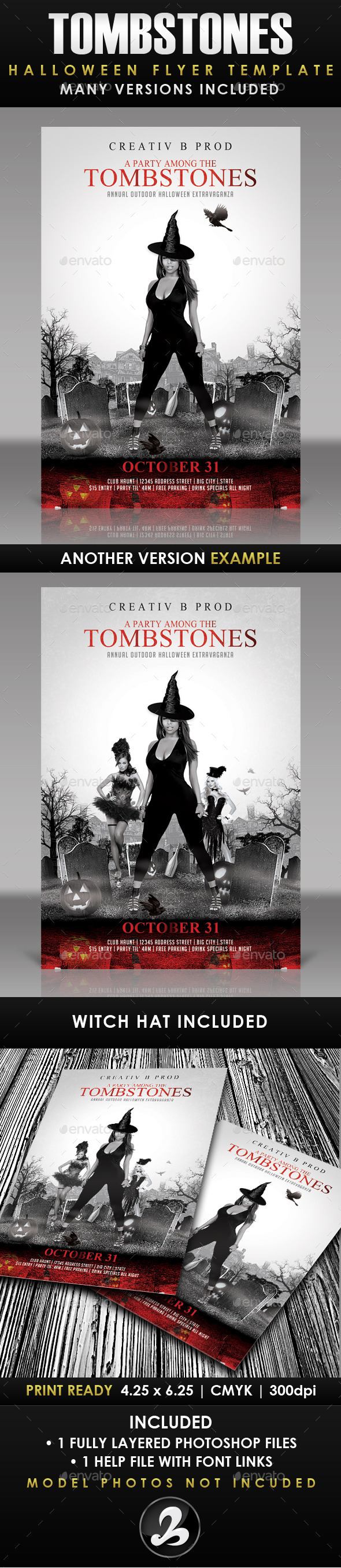 A Party Among Tombstones Halloween Flyer Template