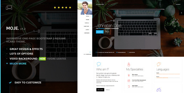 Moje Responsive Bootstrap Personal Resume vCard HTML CSS Theme