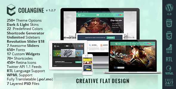 Colangine - Creative Flat WordPress Theme + RTL - Creative WordPress