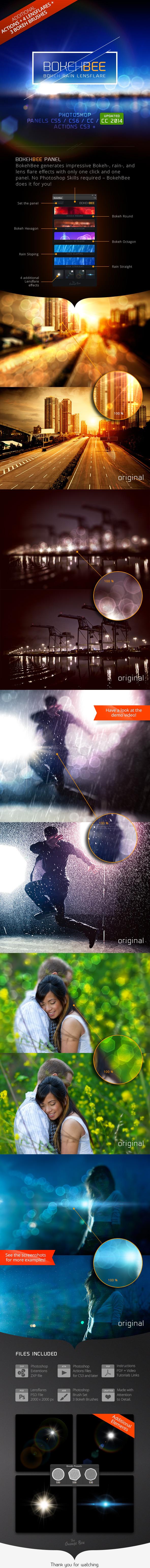 BokehBee - Bokeh Rain Lens-Flare Generator - Actions Photoshop
