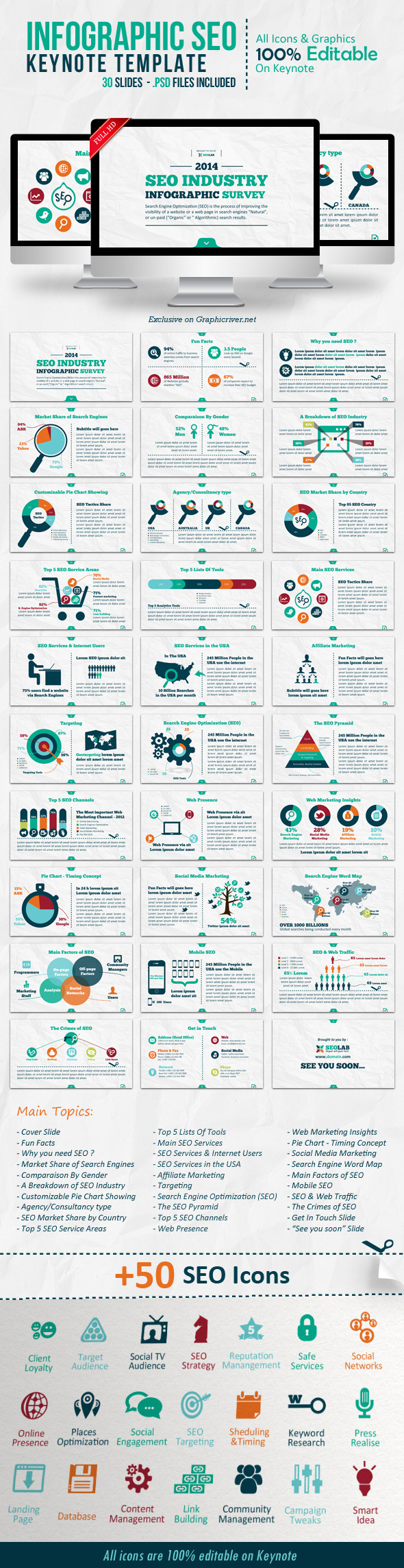 Infographic SEO Keynote Template - Creative Keynote Templates