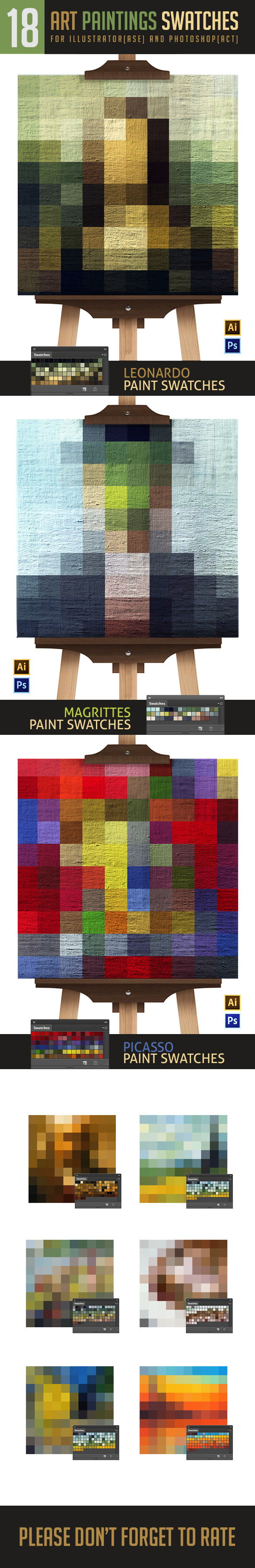 Famous Paintings Swatches For Photoshop and Illust