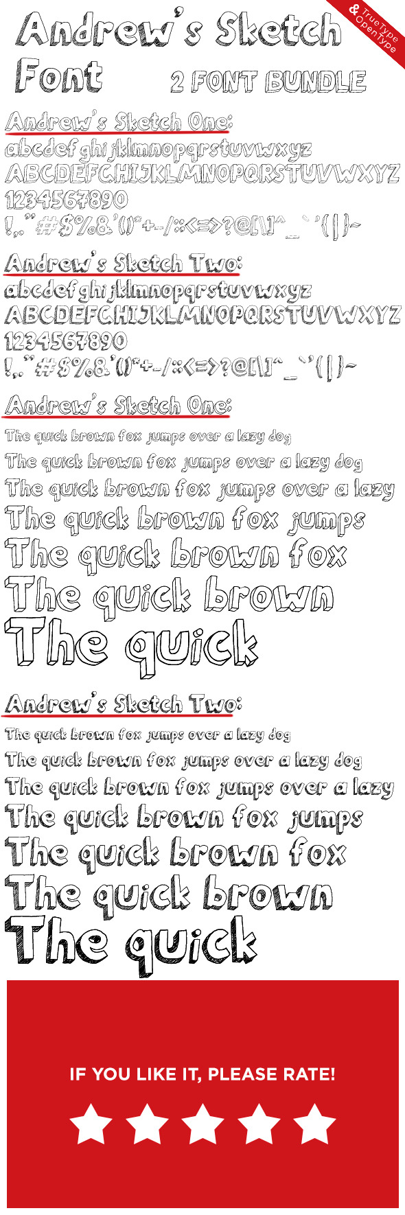Andrew s Sketch Font One and Two