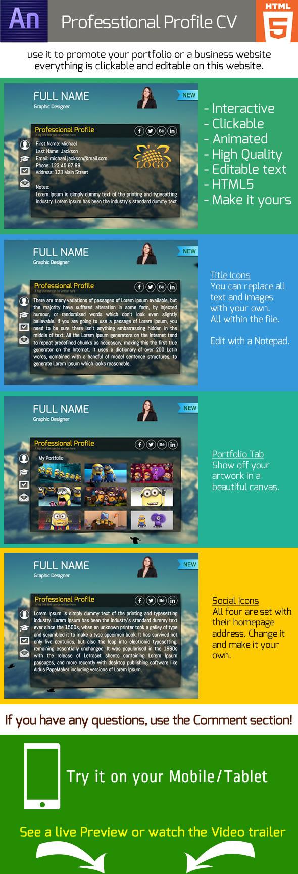 CodeCanyon Animated Professional Profile CV 8811689