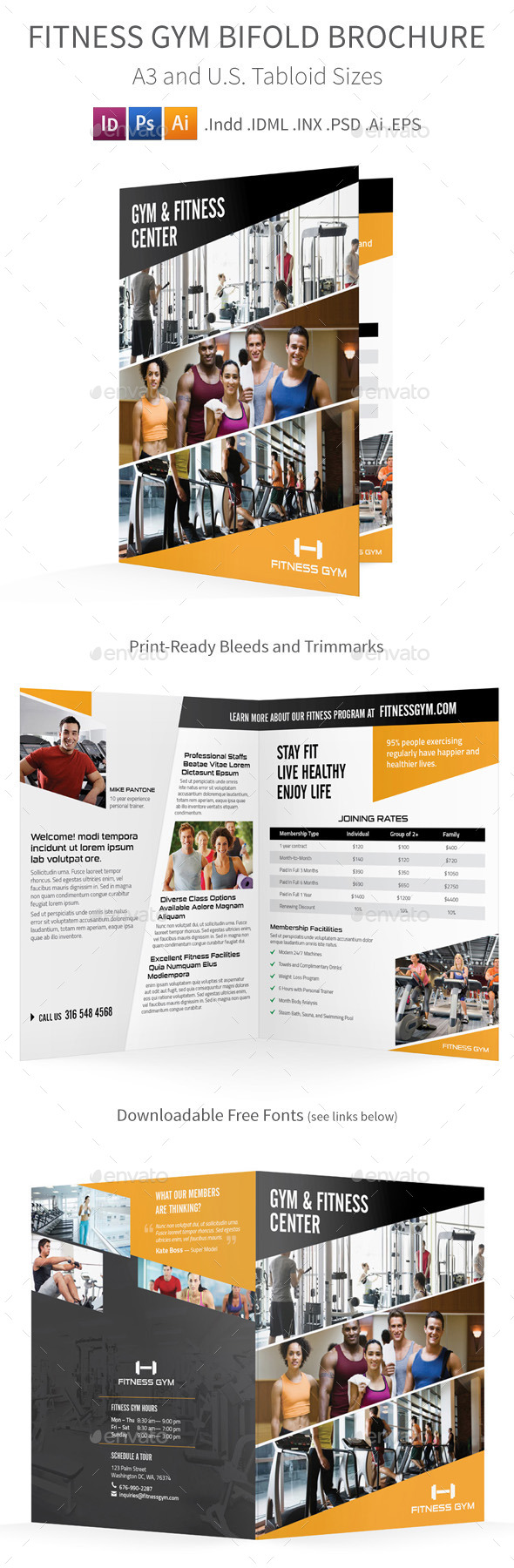 GraphicRiver Fitness Gym Bifold Halffold Brochure 8812791