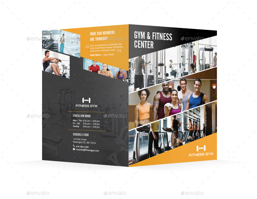 Fitness Gym Bifold Halffold Brochure by Mikepantone – Gym Brochure